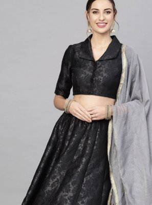 Jacquard Readymade Lehenga Choli in Black and Grey