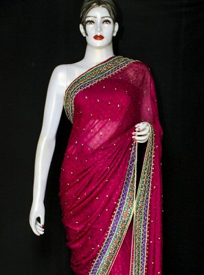 Jacquard Red Designer Saree