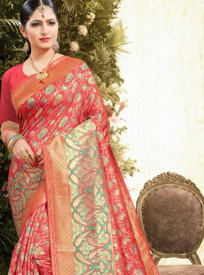 Jacquard Red Weaving Classic Designer Saree