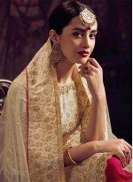 Jacquard Resham Off White Palazzo Designer Salwar Kameez