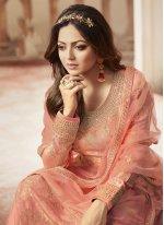 Jacquard Resham Peach Salwar Suit
