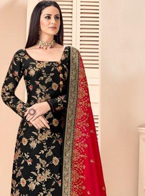 Jacquard Salwar Kameez in Black