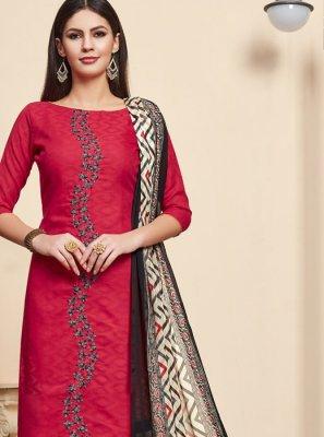Jacquard Salwar Suit in Pink