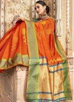 Jacquard Silk Classic Designer Saree in Orange
