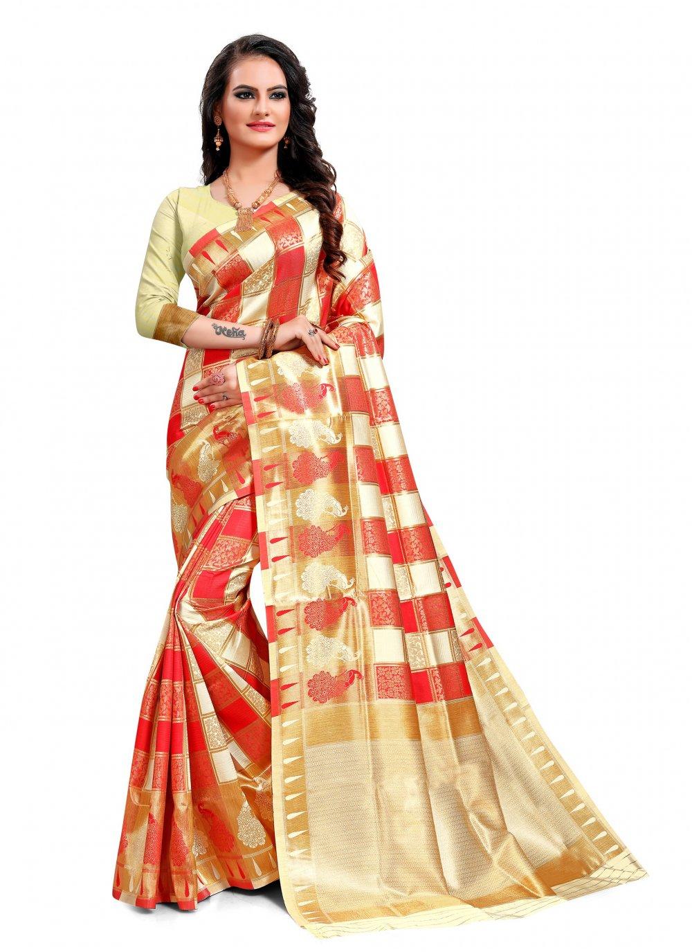 Jacquard Silk Classic Saree in Multi Colour