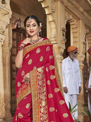 Jacquard Silk Designer Saree in Pink