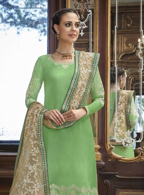 Jacquard Silk Embroidered Green Designer Palazzo Salwar Kameez