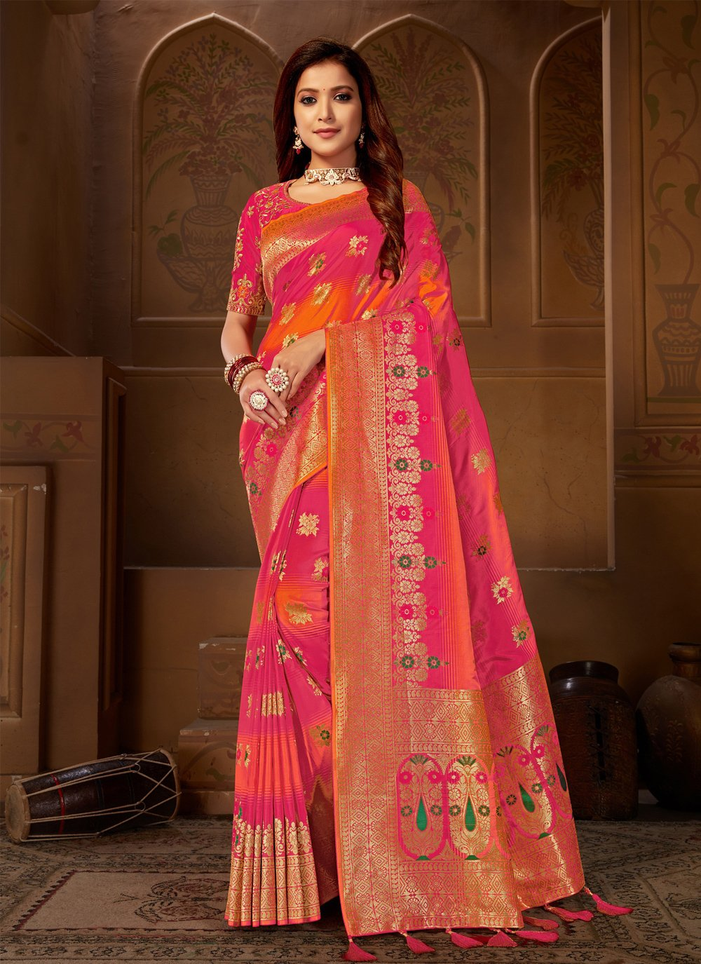 Jacquard Silk Embroidered Pink Trendy Saree