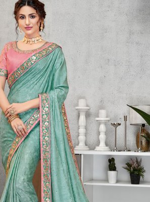 Jacquard Silk Embroidered Traditional Designer Saree in Blue