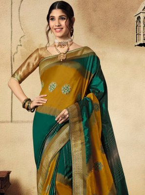 Jacquard Silk Green and Mustard Classic Saree