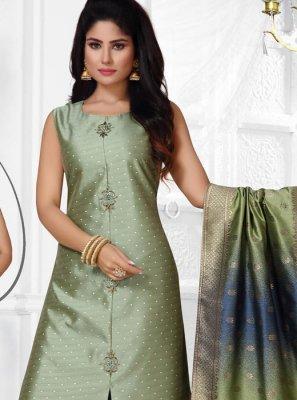 Jacquard Silk Green Salwar Suit