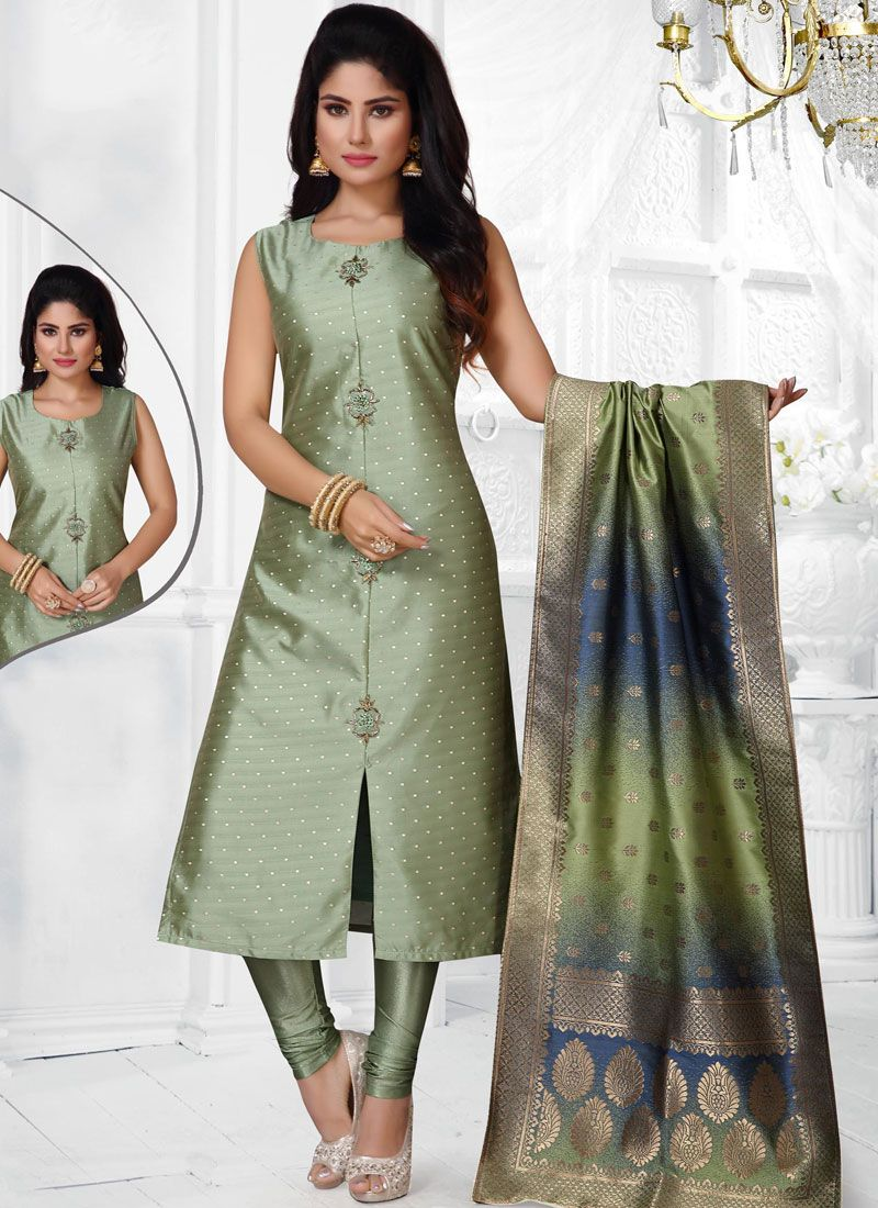 Jacquard Silk Green Salwar Suit
