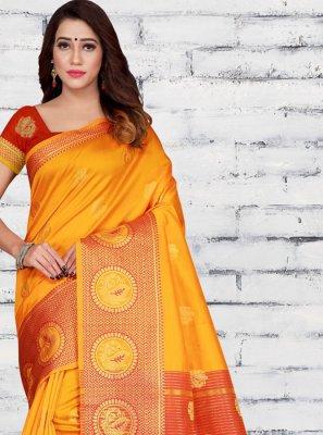 Jacquard Silk Orange Woven Half N Half  Saree