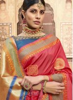 Jacquard Silk Patch Border Designer Saree in Pink