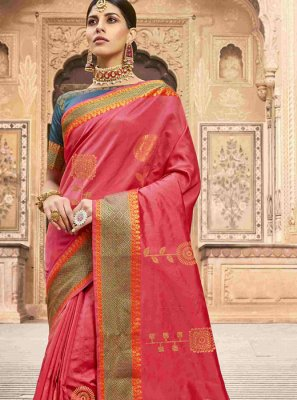 Jacquard Silk Patch Border Designer Saree in Pink