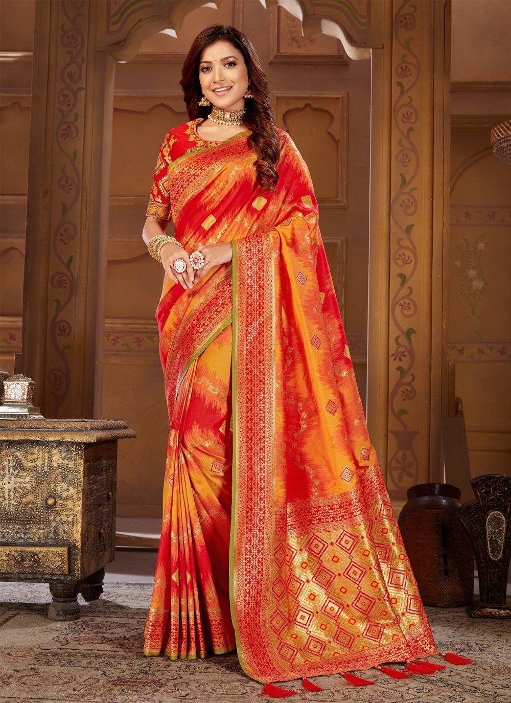 Jacquard Silk Thread Orange and Red Traditional Designer Saree