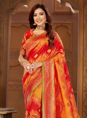 Jacquard Silk Thread Orange and Red Traditional Designer Saree