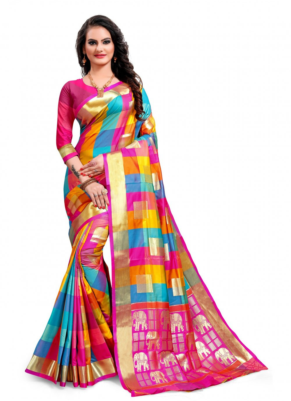 Jacquard Silk Weaving Multi Colour Classic Saree