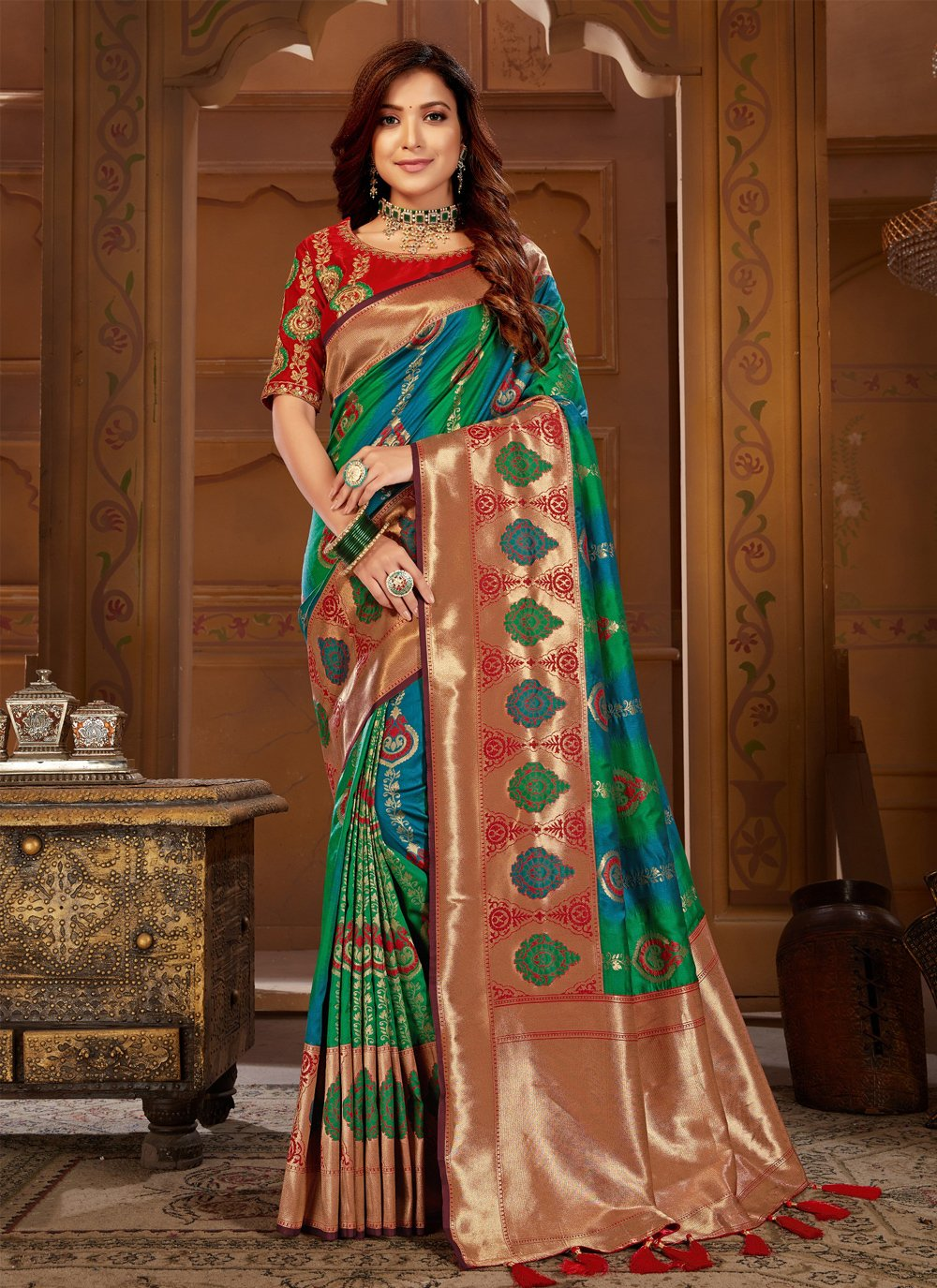 Jacquard Silk Weaving Multi Colour Contemporary Saree