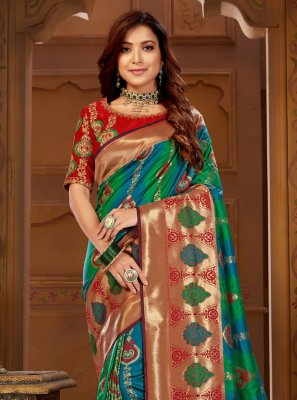 Jacquard Silk Weaving Multi Colour Contemporary Saree