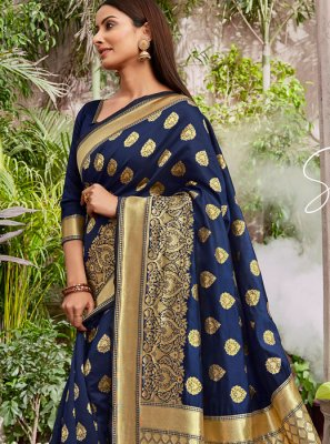 Jacquard Silk Weaving Navy Blue Designer Saree