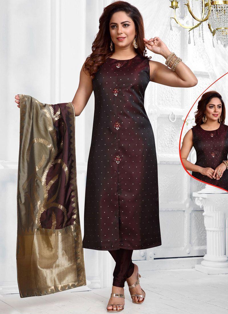 Jacquard Silk Wine Salwar Suit