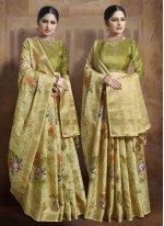 Jacquard Silk Yellow Traditional Designer Saree