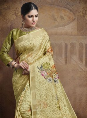 Jacquard Silk Yellow Traditional Designer Saree