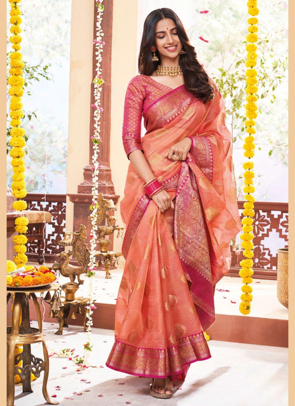 Pink Colore Designer Saree Wedding wear saree party wear saree Bollywood Style Designer Saree Exclusive Saree weaving Jequard saree