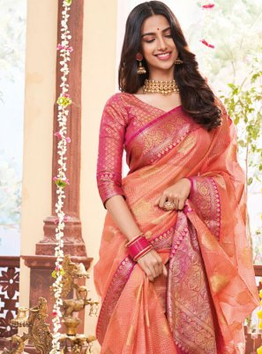 Jacquard Weaving Classic Designer Saree in Peach