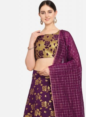 Jacquard Weaving Designer Lehenga Choli in Purple
