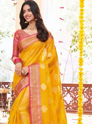 Jacquard Weaving Yellow Designer Saree