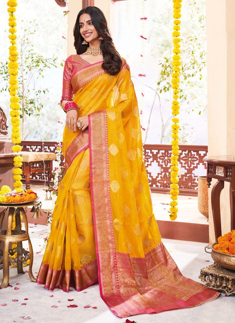 Jacquard Weaving Yellow Designer Saree