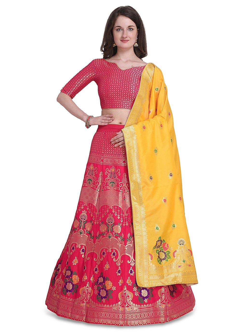 Jacquard Woven Lehenga Choli in Hot Pink