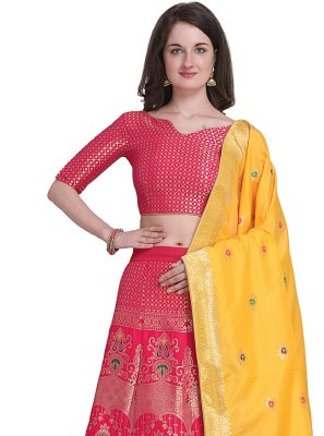 Jacquard Woven Lehenga Choli in Hot Pink