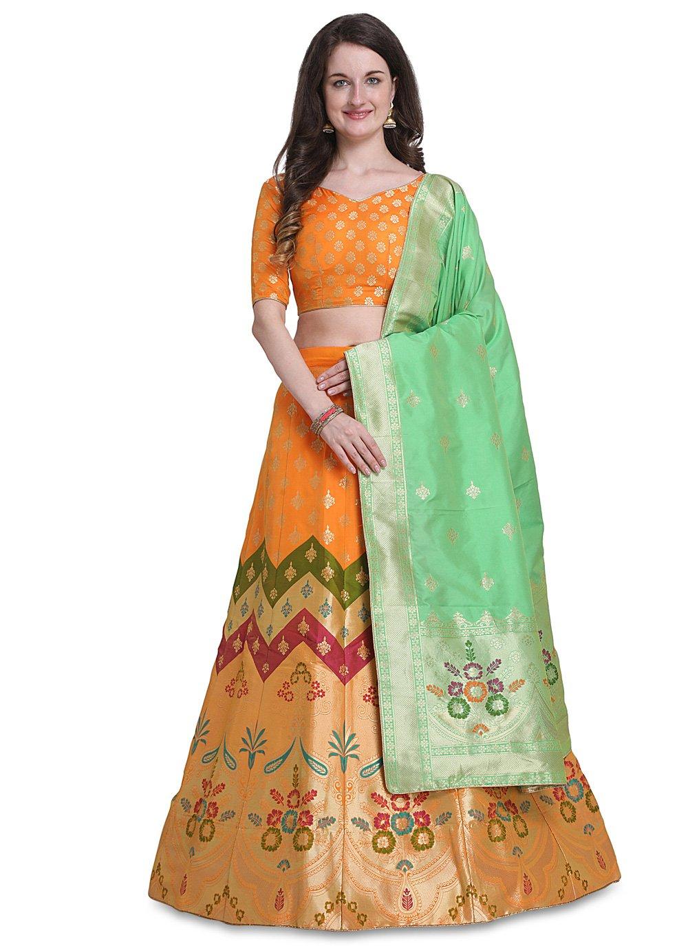 Jacquard Woven Orange Designer Lehenga Choli