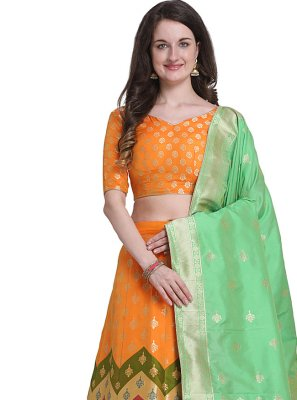 Jacquard Woven Orange Designer Lehenga Choli