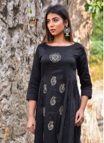 Jamawar Silk Block Print Readymade Gown