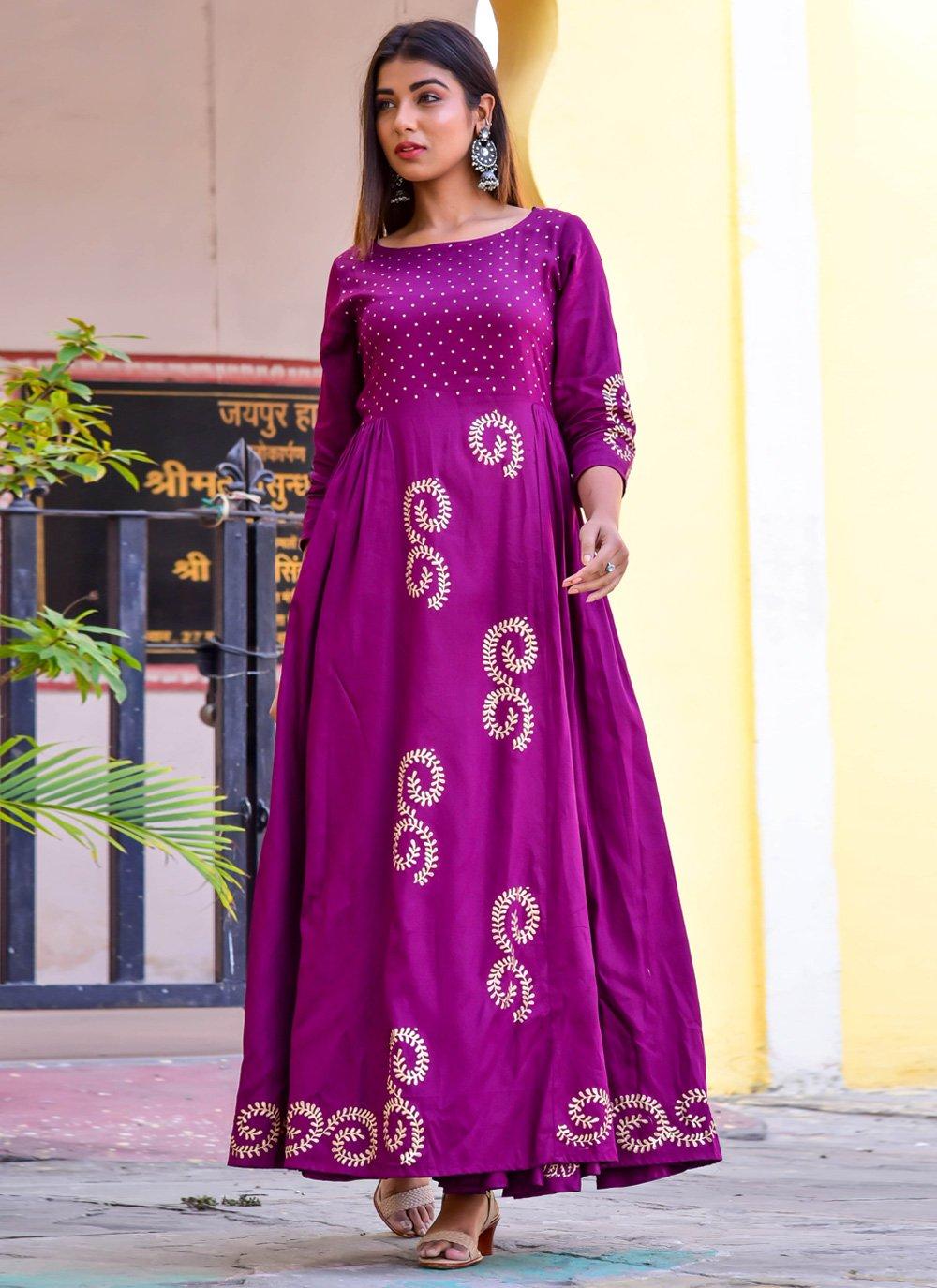 Jamawar Silk Readymade Gown