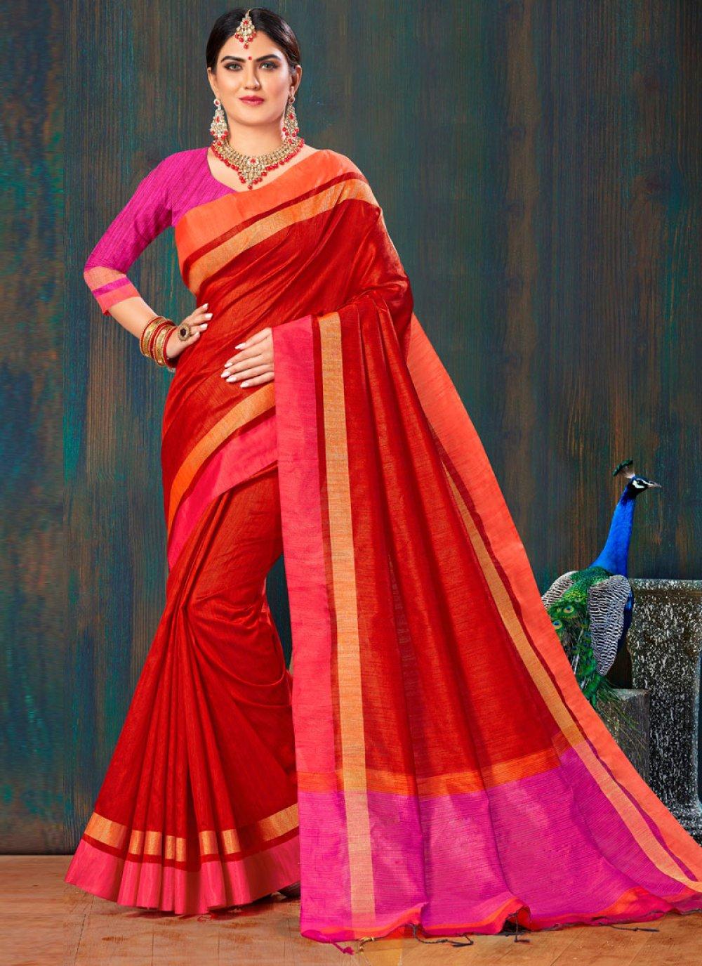 Jute Silk Lace Red Saree