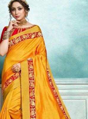 Jute Silk Mustard Designer Saree