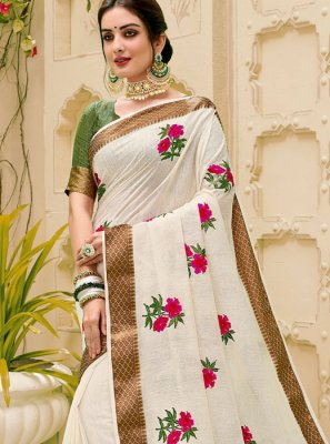 Jute Silk Off White Classic Saree