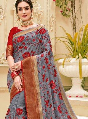 Jute Silk Weaving Classic Saree in Grey