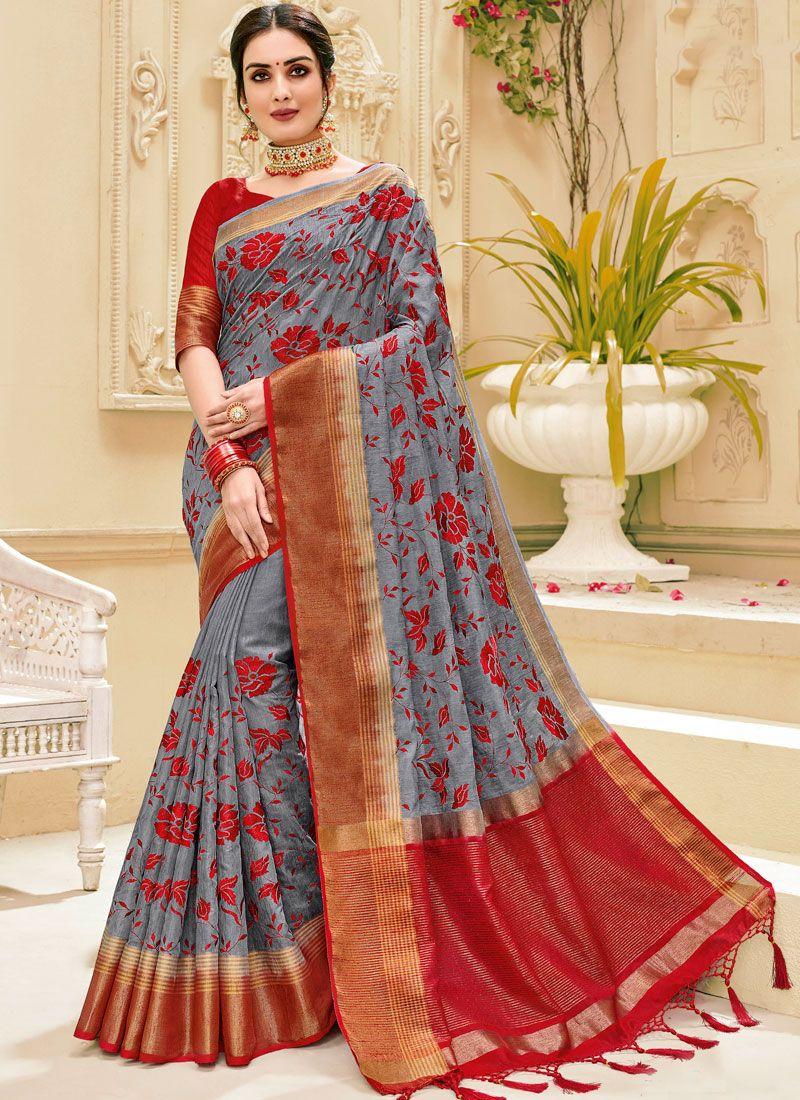Jute Silk Weaving Classic Saree in Grey