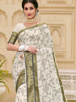 Jute Silk Weaving Classic Saree in Off White