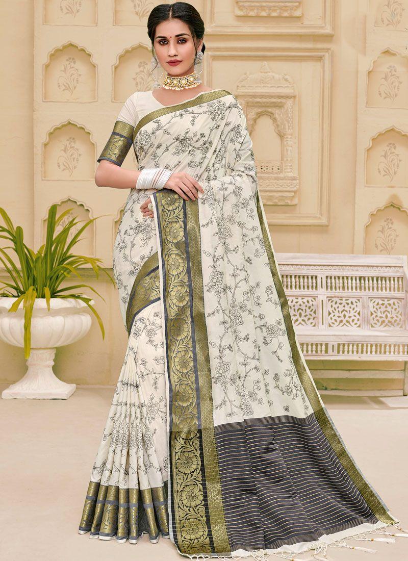 Jute Silk Weaving Classic Saree in Off White