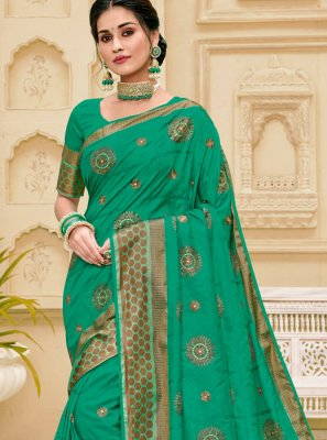Jute Silk Weaving Teal Traditional Designer Saree