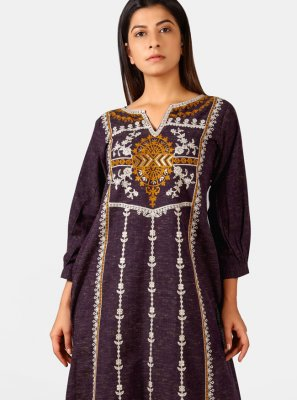 Khadi Embroidered Designer Kurti in Wine