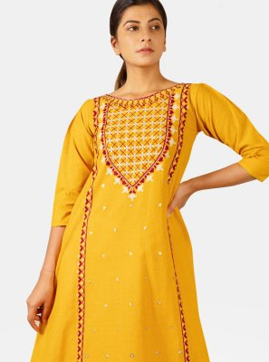 Khadi Embroidered Yellow Party Wear Kurti