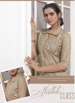 Khadi Silk Brown Floor Length Anarkali Salwar Suit